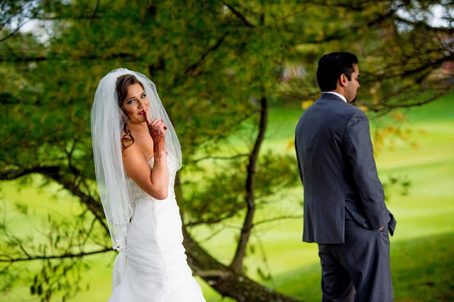 First Look Photos on your Wedding Day.